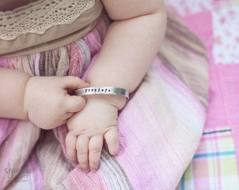 Hand Stamped Personalized Bracelet - Hand Stamped Baby Bracelet - Baby Cuff Bracelet - Personalized Kids - Baby Shower Gift - For Baby