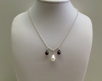 Garnet and Freshwater Pearl Briolette Necklace - FREE SHIPPING
