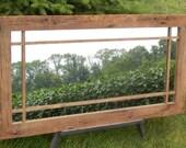 "Custom Made Mission Style Barnwood Framed Mirror (68"" x 32"")"