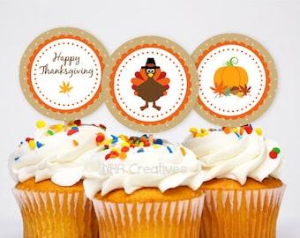 Thanksgiving Cupcake Toppers -  DIY Printable Digital File