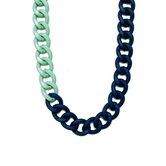 Color Block Chunky Chain Long Necklace - Mint