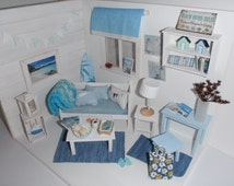 Dollhouse Beach shabby room OOAK Doll diorama 1:12 scale (also Lati yellow,middle blythe, pulip)