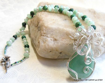 Light green necklace with sterling silver
