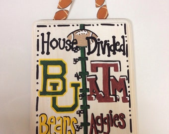 College personalized signs hand painted Texas A&M and Baylor University House Divided Wedding shower gift, parents gift, house warming gift