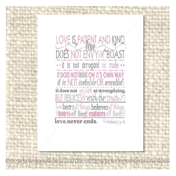 Love Is Patient and Kind... -  Love Note, Valentine or Just Because - Single Card - 5 Color Options
