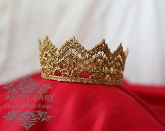 Any Size Pet Crown, Cake Topper Various Size Crown Prop Baby Adult Teen Crown for Photo Shoots, Theatre, Prom Shows Gold sparkle Size Choice