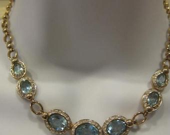 Vintage PANNETA Fancy Aquamarine Necklace