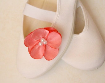 coral flowers (with shoes) / ballet flats jarmilki wedding poletsy fashion retro elegant pink bride bridesmaid girl comfortable white beige