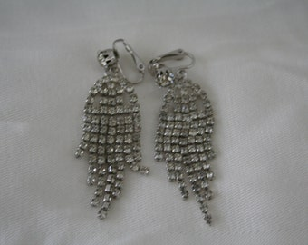Vintage Waterfall Rhinestone Earrings