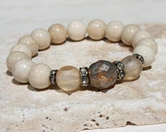 Cream bracelet, Fossil stone bracelet, Beige stone bracelet, Beige stacking bracelet, Riverstone