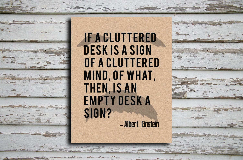 Albert Einstein A Cluttered Desk Quote Poster Etsy