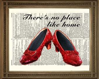 "DOROTHY RUBY SLIPPERS: Dictionary Art Print, Wizard of Oz (8 x 10"")"