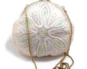 Vintage Beaded Purse Midcentury Style Starburst White with Gold Toned Chain