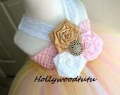 gold,pink &white flower girl tutu dress