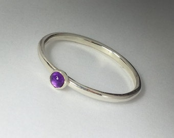 February birthstone Amethyst Ring - Stackable Sterling Silver Amethyst Ring - 3mm stone