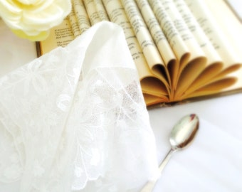 Lace Handkerchief,  White Vintage Bridal Hanky Delicate  Hankie Bridesmaid Gift, Mother of the Bride, Accessory  10""