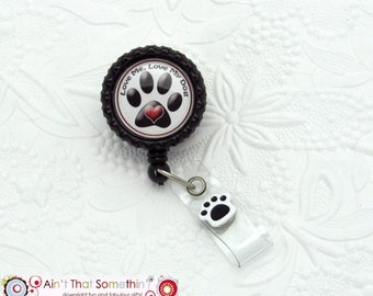 I Love My Dog Retractable Badge Reel - Dog Badge Clips - Animal Badge Reels - Cute Badge Holders - Fun ID Reels - Designer Badge Reels