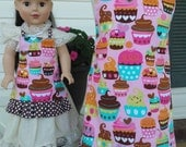 """Matching Pink Cupcake Aprons """"Amber"""" for Girls and Their 18 Inch Dolls; Fits American Girl Dolls; Turquoise Option Available"""