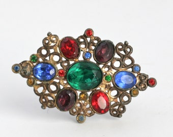Amazing VICTORIAN Brass and Glass Brooch Pin // Vintage Jewelry // C Clasp