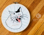 Yawning Cat - Animal Hand Embroidery Pattern