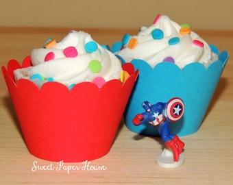 24 Red and Blue Scallop Cupcake Wrappers - Cardstock (Elmo, Angry Birds, Dr. Seuss, Spiderman, Superman, Birthday Party, Mickey Mouse, Boy)