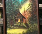 Cabin Painting Signed Sheri