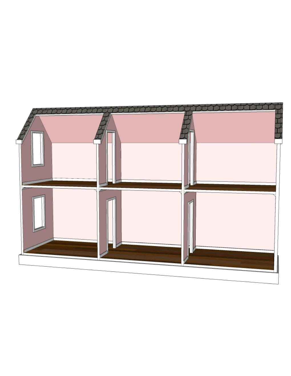 Doll House Plans for American Girl or 18 inch dolls 6 Room