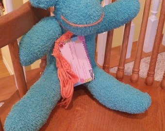 "Teal and coral sock monkey ""Skylar"""