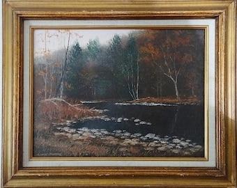 Vintage Autumn Landscape Oil Painting
