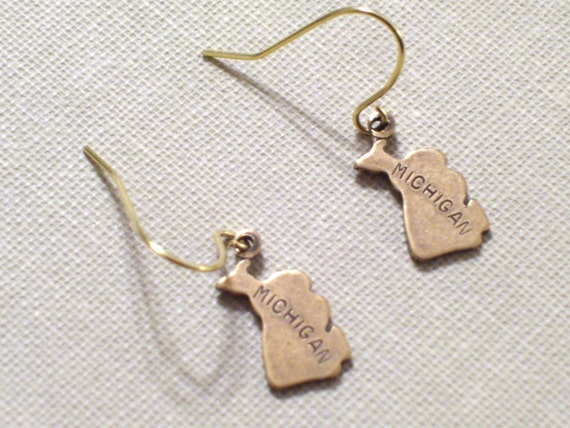 State Earrings MICHIGAN Small Gold Brass State Charm Earrings USA Charm State Pride College University