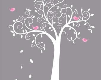 Children wall decal tree - Vinyl tree decal - tree decal - Swirl tree decal - Nursery tree
