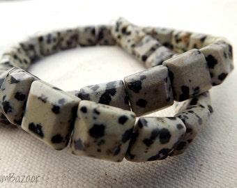 "Dalmatian jasper stone beads, 16"" strand beveled square beads, full strand"