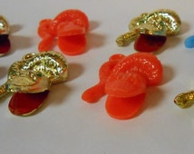 Vintage Penny Gumball Machine Prize /  Plastic Toy Charms  Snakes / Serpents Assorted Colors set of 8