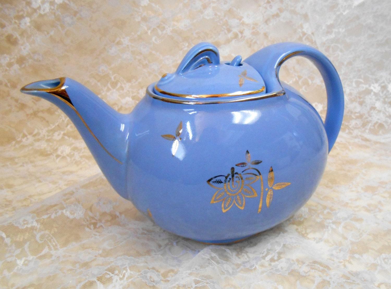 Blue Hook Cover 6 Cup Ceramic Tea Pot with Gold Floral Design