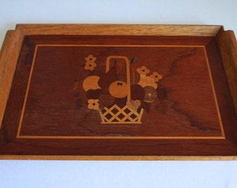 Large Wooden Serving Tray with Fruit Basket Design