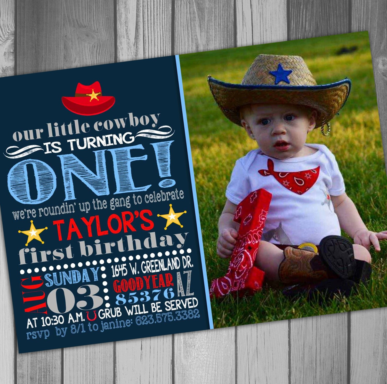 Cowboy 1st birthday – Wild West Birthday Invitations
