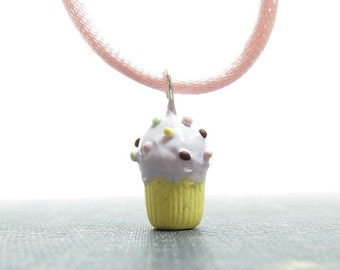 Cupcake Necklace Polymer Clay Frosted Pastel Cupcake Pendant Kawaii Food Jewelry