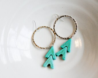Large Hoop & Arrow earrings- Turquoise arrow earrings with silver textured hoops, statement earrings