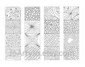 Color Your Own Bookmarks, Zentangle Inspired Printable Coloring, Sheet 17