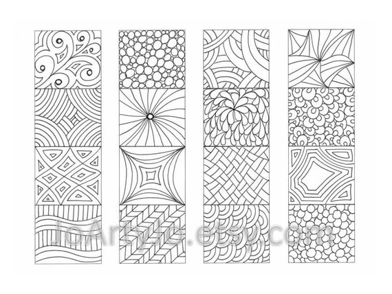 coloring bookmarks zendoodle zentangle inspired printable