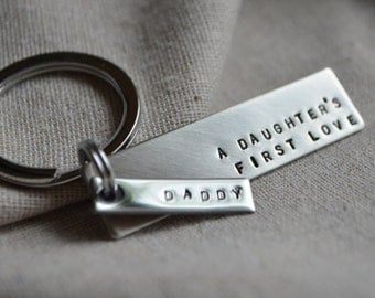 Long Dad Keychain Silver Tone - Father Daughter - Personalized - Hand Stamped - Quote