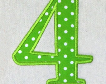 """Instant Download - Applique Number 425 - Machine Embroidery Design -Applique design numbers 0-9 - 4 sizes 3"""" 4"""" 5"""" 6"""""""