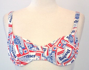 Budweiser Beer Vintage Beach Bikini Bra Top Swimsuit Size 13/14