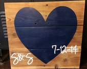 Reclaimed wood sign, heart with date, great wedding gift!