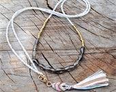 Gemstone and gold vermeil layering necklace, long boho necklace, wrap necklace, wrap bracelet, rose quartz, smoky quartz