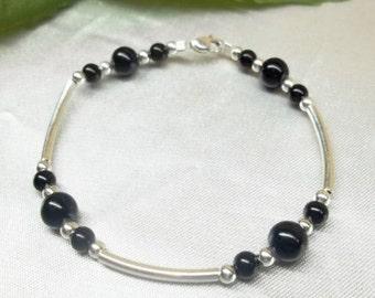 Black Onyx Bracelet Sterling Silver Bracelet Gemstone Bracelet Black and Silver Bracelet Black Bracelet BuyAny3+Get1 Free