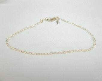 Solid 14kt Gold Cross Anklet Gold Chain Anklet 14kt Gold Bracelet Cross Bracelet Christian Jewelry Christmas Gift For Her BuyAny3+Get1 Free