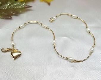 Girls Anklet White Pearl Anklet Toddler Ankle Bracelet Child's Pearl Anklet Gold Heart 14k Gold Filled or 14k Gold Plate BuyAny3+Get1Free