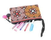 CLEARANCE--Long Wristlet Writing Case Handmade Hill Tribe Fabric HMONG embroidered Thailand (BG295WX1)