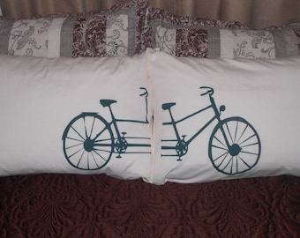 Bicycle Built  for Two -  Hand Painted, Pillowcases for Your Bedroom Decor